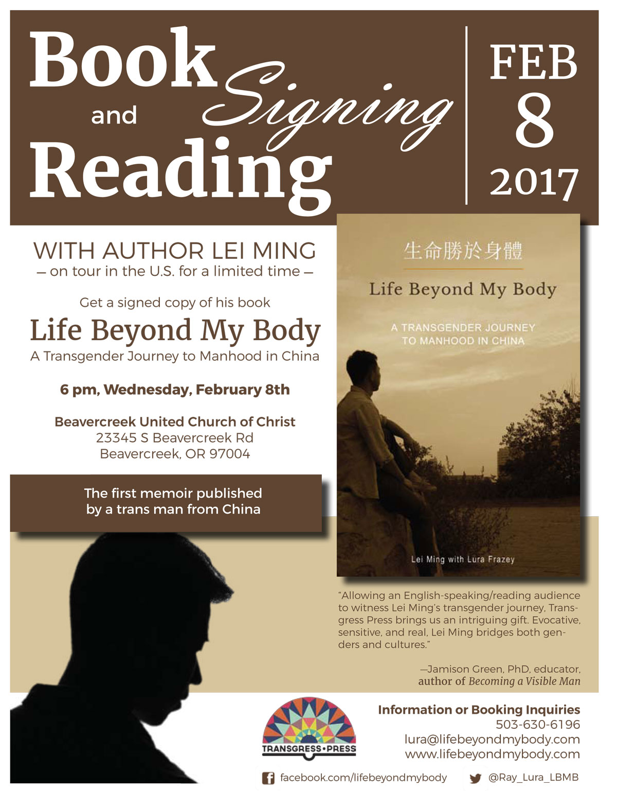 Book reading and signing February 8 at 6 pm at Beavercreek United Church of Christ